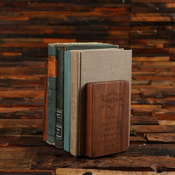 solid wooden bookend with engraving