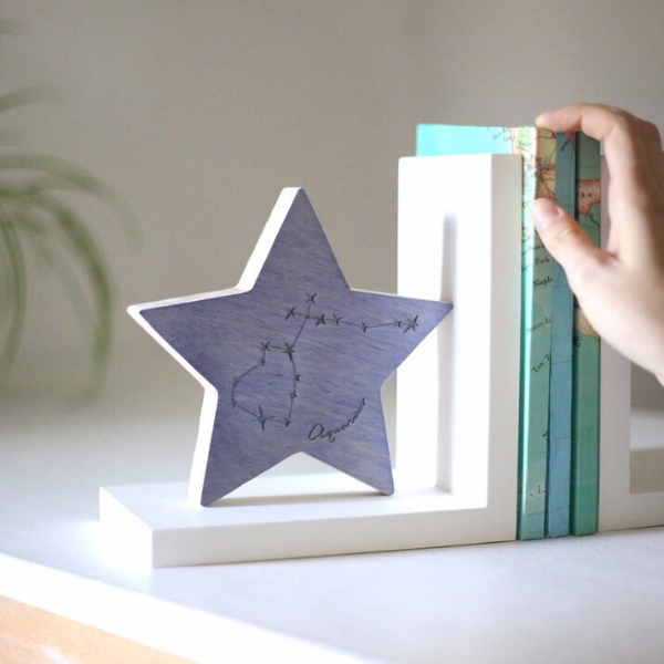 star shaped bookend with zodiac sign