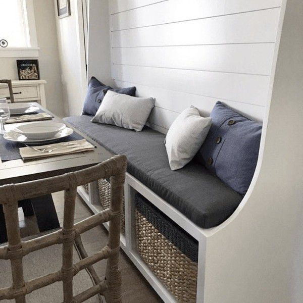kitchen bench with cushion and pillows