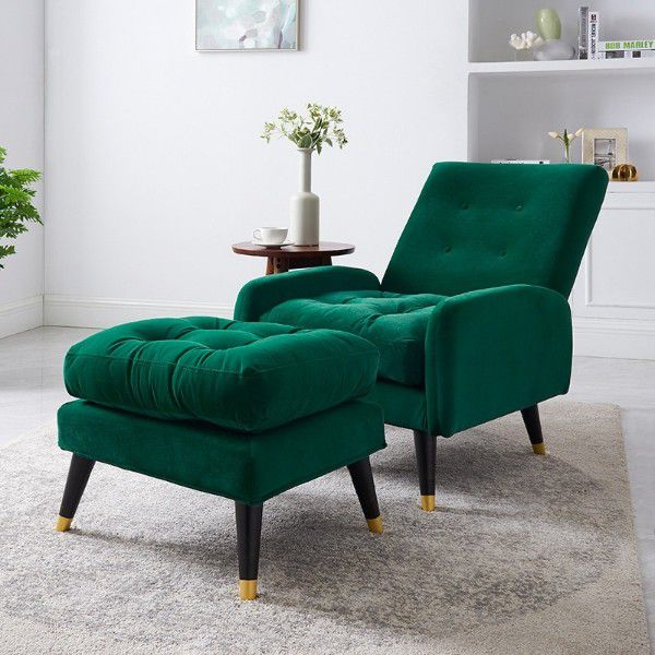 green reclining reading nook chair with matching ottoman