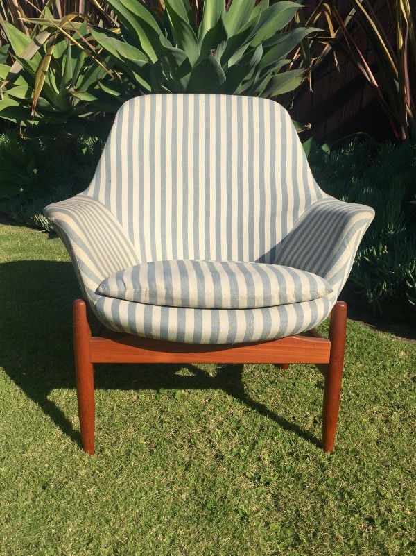 vintage teak and blue striped reading nook chair