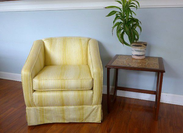 vintage yellow striped club reading nook chairs