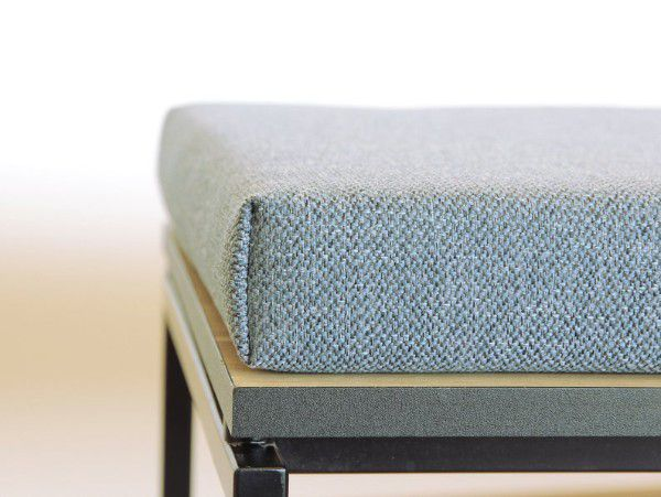 close up shot of bench cushion in linen fabric