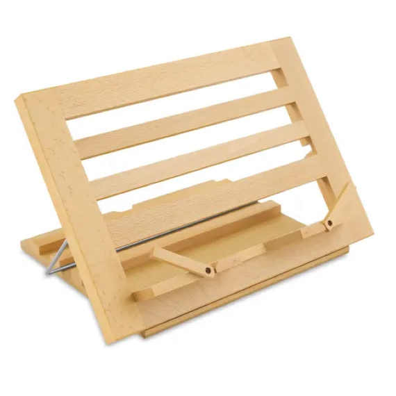 A thick slotted, wooden book stand. Link: https://images.ctfassets.net/f1fikihmjtrp/1HqnEdL9uAjxM6s0E9B12R/b422622061e5d3df40b1a97ccd350caf/50391-1005-1-4ww.jpg?q=80&w=500&fm=webp