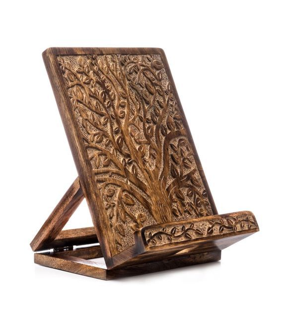 Portable wooden book stand. The Tree of Life is carved on the surface. Link: https://i.etsystatic.com/11364212/r/il/5132f9/1582296620/il_1140xN.1582296620_2rvg.jpg