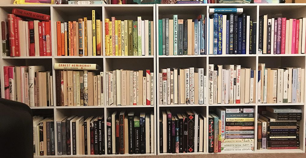 Rainbow Bookshelves with Spines Turned Inside Out | Ashley Holstrom