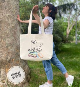 Embroidered Cat and Books Tote