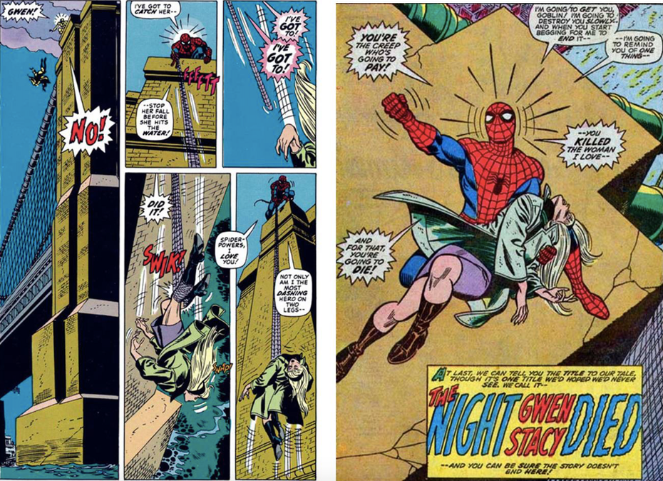 The Death of Gwen Stacy in The Amazing Spider-Man ©2020 MARVEL https://www.marvel.com/comics/series/1987/the_amazing_spider-man_1963_-_1998