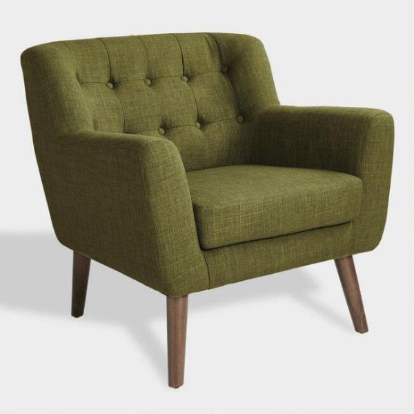 green club reading nook chair with wooden legs