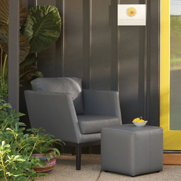 leather outdoor patio chair with matching ottoman
