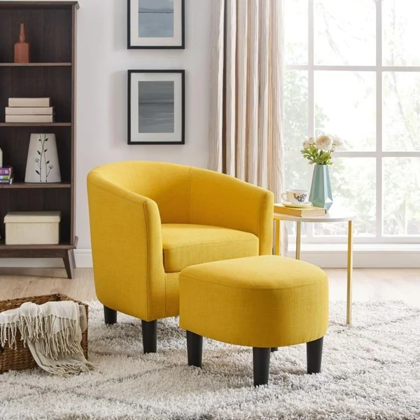 Yellow barrel chair with footstool