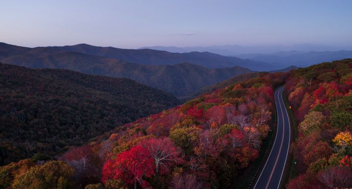 autumn setting with road in North Carolina hills