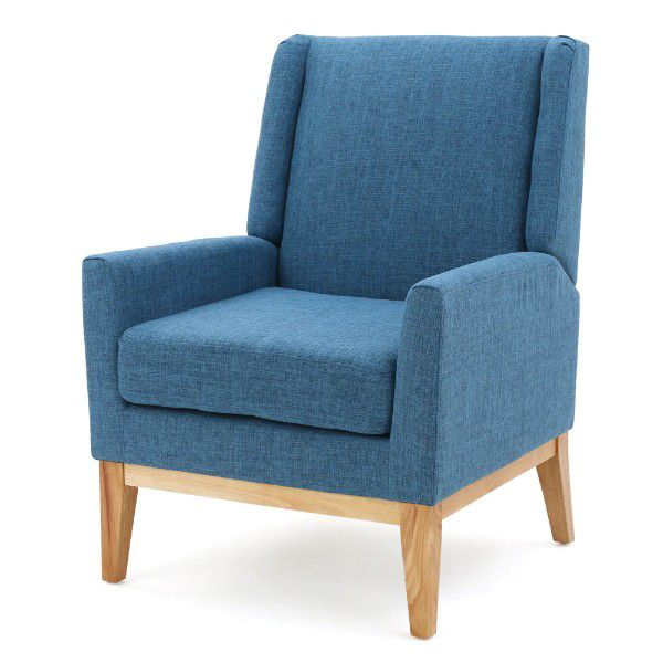 tall back blue chair with wood legs