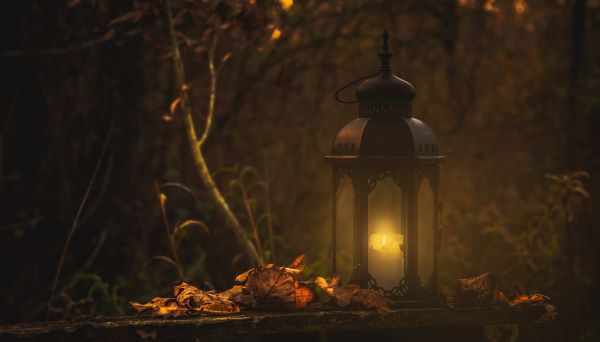 Gothic Poems. A lantern glows in the night sky. A tree sits on the left. File name: GothicPoems1.jpg