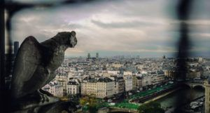 Gothic Poetry: A gargoyle overlooking an overcast city. File name: GothicPoetry1.jpg