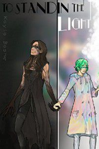 To Stand In The Light by Ennis Rook Bashe cover [cover is split down the middle. One side is black with person clad in all black with black-tinged arms and a black mask. The other side is a girl in a sea of pastel colors, a pastel coat, and line-green hair]