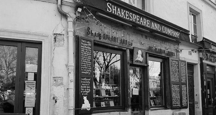 black and white image of outside of shakespeare and company.jpg.optimal