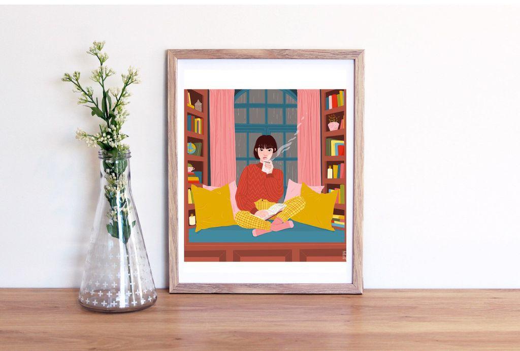 cozy reading nook digital art print