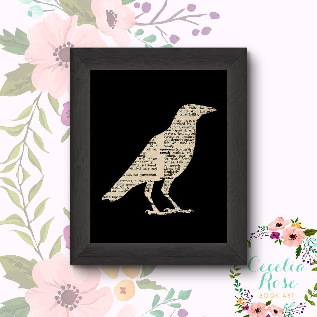 crow vintage book framed print