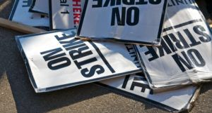 on strike signs for labor movements