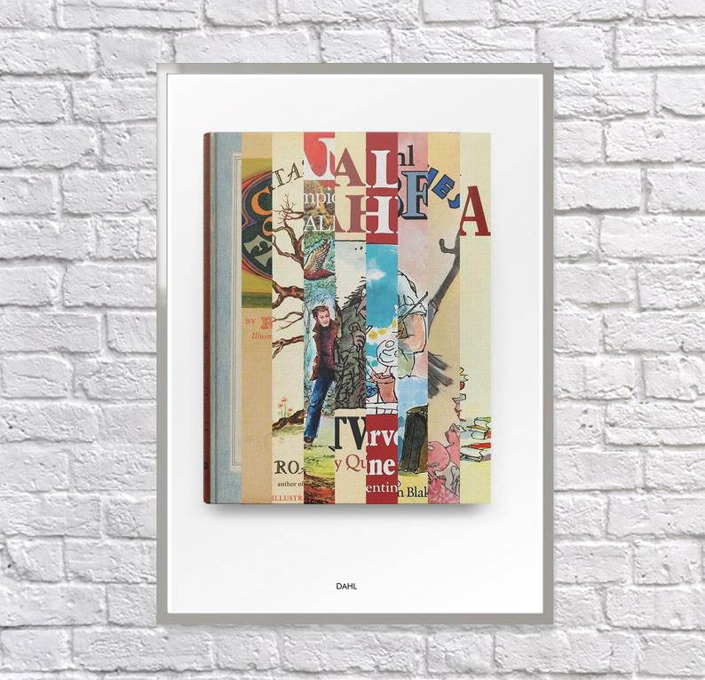 Roald Dahl Collage First Editions Print