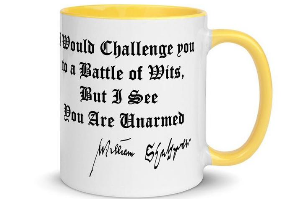 shakespeare battle of wits mug