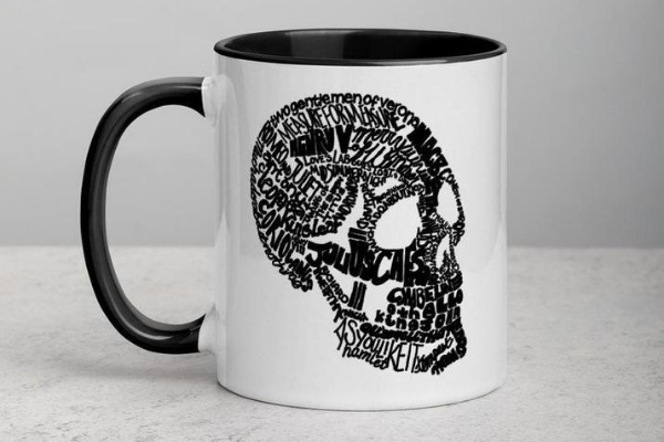 shakespeare mug skull play titles