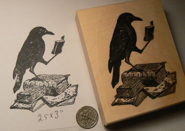 Crow Reading a Book Rubber Stamp by DragonFlyBuzz.jpg.optimal