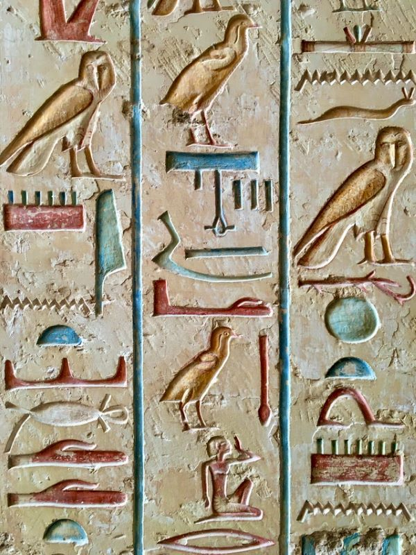 History of Reading. Egyptian Hieroglyphics.  Photo by Lady Escabia from Pexels. Link: https://www.pexels.com/photo/egyptian-symbols-3199399/