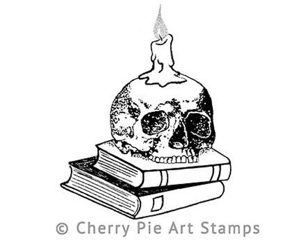 Skull Candle Holder on Books by CherryPieArtStamps2.jpg.optimal