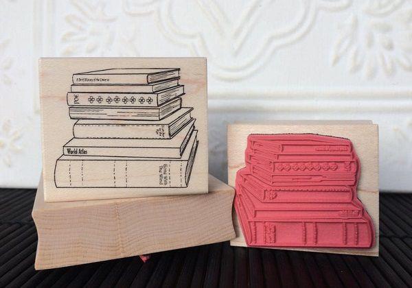 Stack of Books Rubber Stamp by OldIslandStamps.jpg.optimal