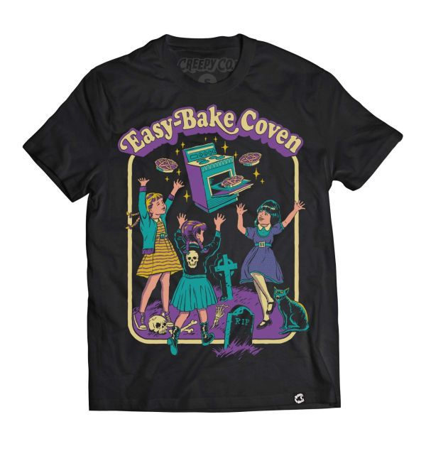 Easy-Bake Coven T-shirt - Creepy Co. - image of three small girls dancing in a cemetery around a flying easy-bake oven, text in an arc above