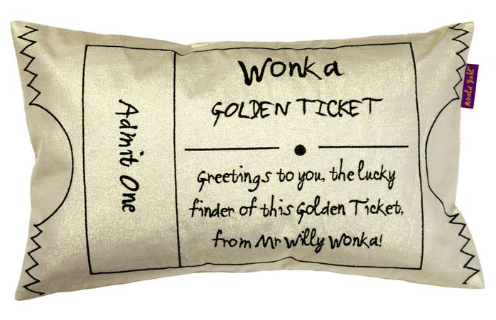 Wonka Golden Ticket Gold Cushion Cropped Image