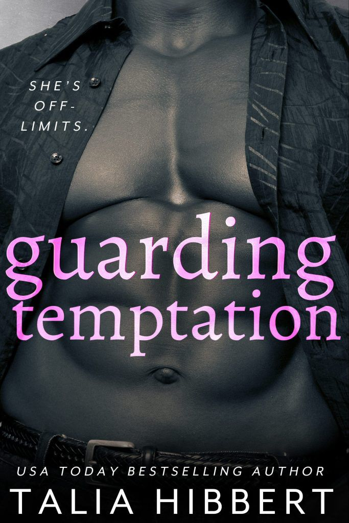 Cover for Guarding Temptation by Talia Hibbert. A big broadchested man with an open shirt