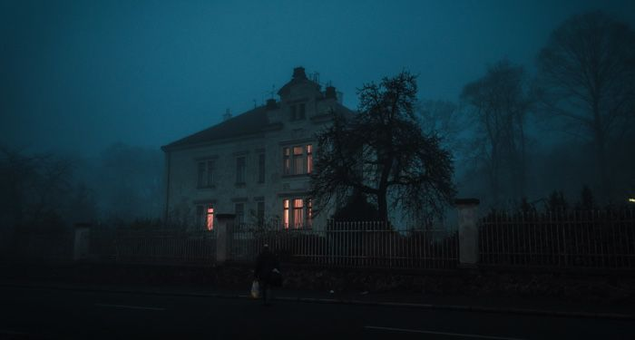 haunted house at night
