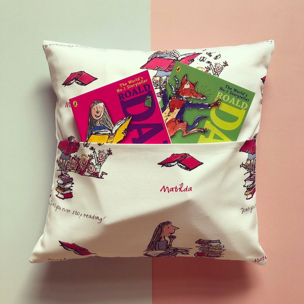 Matilda Print Pocket Pillow with Books