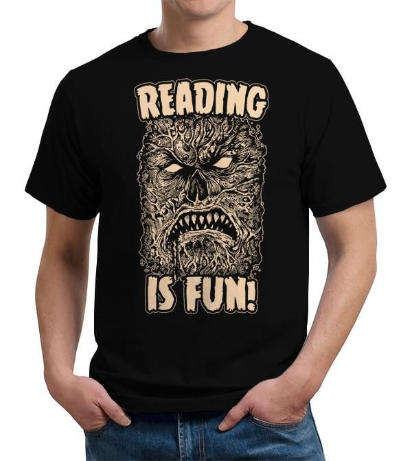 Reading Is Fun T-shirt - FiveFingerTees - image of the Necronomicon surrounded by text