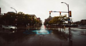 rainy city street in rochester new york