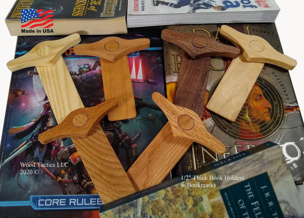 Suporte de página de polegar de madeira e marcador complementar
