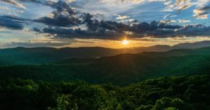 sunset over Appalachian mountains in North Carolina