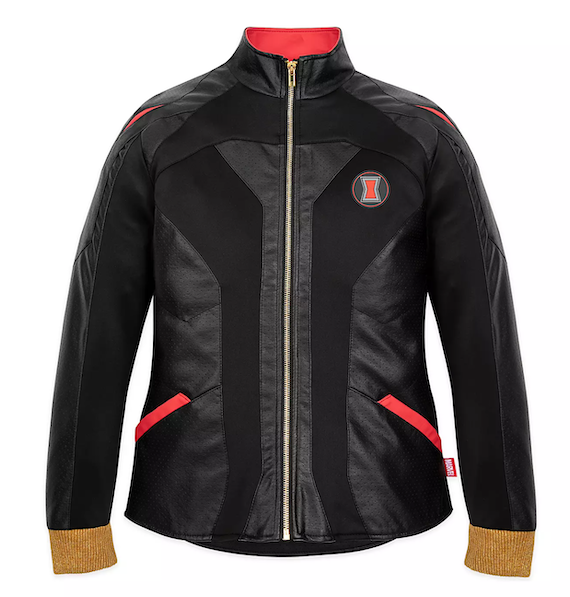 Black and red Jacket with gold cuffs. Black Widow logo on the left chest.