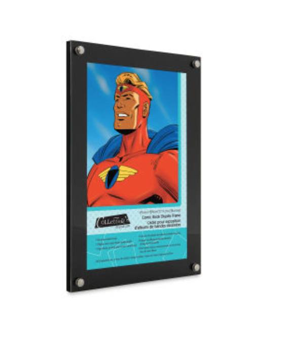 A black frame containing an image of a comic book