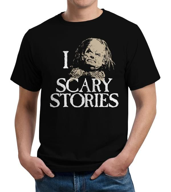11 Funny Horror T-shirts - I Heart Scary Stories T-Shirt - FiveFingerTees - text with an image from the Scary Stories to Tell in the Dark series in place of a heart