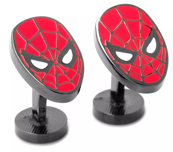 Red and black spiderman facemask on cufflinks