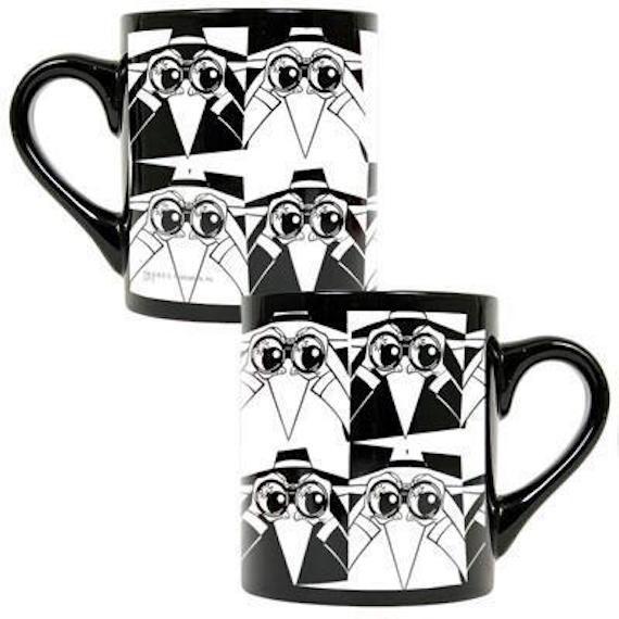 Black and white spy alternating, looking through binoculars.