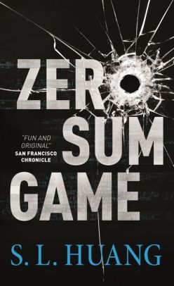 a graphical text cover that says Zero Sum Game, in which the O is made of a bullet hole