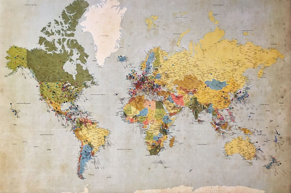 blue, green, and yellow world map