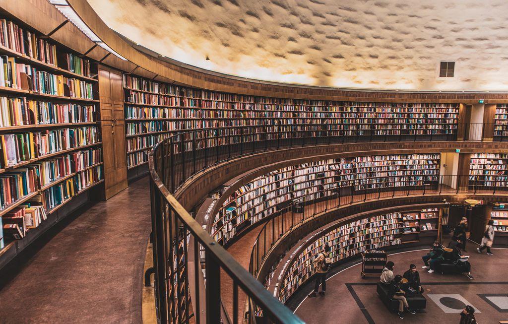 books inside library