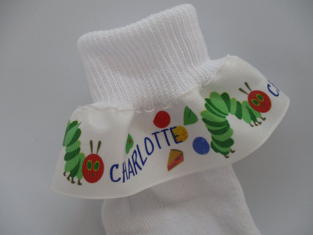 caterpillar book socks personalized