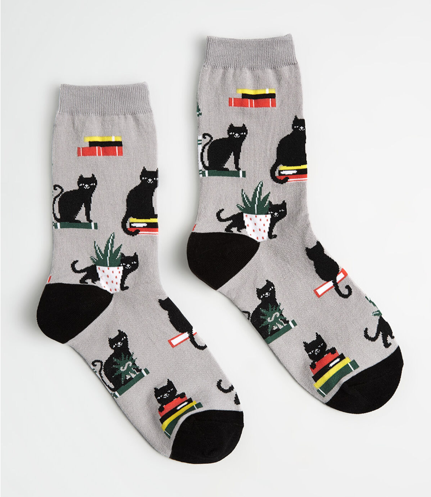 cats books and plants book socks